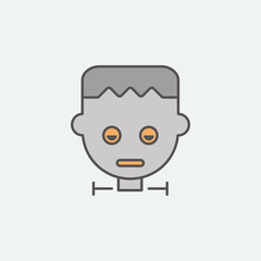 Frankenstein zombie mask colored icon. One of the Halloween collection icons for websites, web design, mobile app