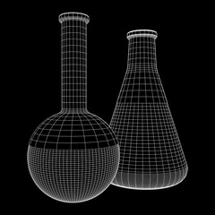 Test tube low poly wireframe mesh. Science and analyses. Vector abstract polygonal image line and point.