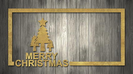 Christmas background with decoration on dark wooden board.