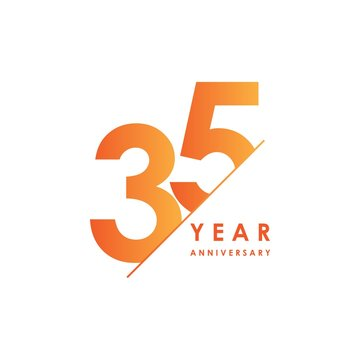 35 Year Anniversary Vector Template Design Illustration