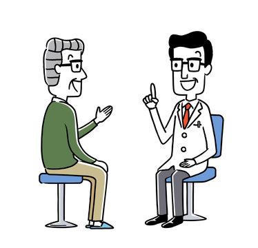診察:男性医師とシニア男性