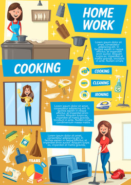 Cleaning and dish cooking service, cartoon vector
