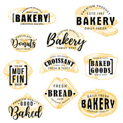 Bakery shop cakes, pastry sketch lettering