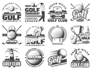 Golf sport game vector icons and symbols
