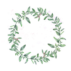 watercolor wreath green leaves wild thyme
