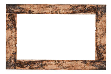 Photo frame isolated on the white background. rustic picture frame. wood frame with clipping path.