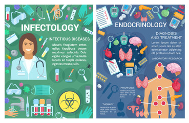 Endocrinology, infectology medicine doctor. Vector