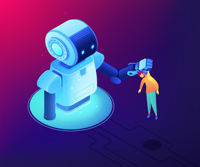 Huge robot lifting businessman by the collar and holding him. Human-robot interaction and cooperation, workplace automation, robot takeover concept. Ultraviolet neon vector isometric 3D illustration.