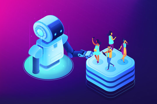 Robot touching server with users with mobile gadgets on it. Social media automation tools, marketing automation, social media management concept. Ultraviolet neon vector isometric 3D illustration.