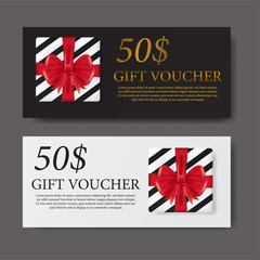 gift voucher label coupon template for marketing promotion with gift box