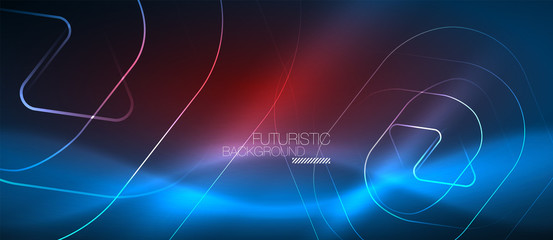 Neon glowing techno lines, hi-tech futuristic abstract background template with geometric shapes
