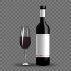 Vector dark bottle and glass set template. Empty label for packaging design.