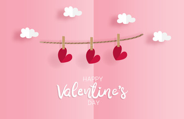 Valentine's card with heart shape paper cut style hanging on the wall. Paper cut style. Vector illustration.