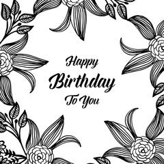 Garden floral Happy birthday card vector art