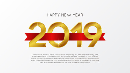 happy new year banner template with 3D number and red ribbon. vector illustration