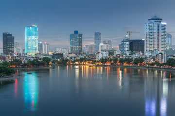 Aerial skyline view of Hanoi at Hoang Cau lake. Hanoi cityscape by sunset period