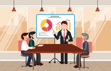 Manager Businessman Lead Presentation Office Conference Meeting Room