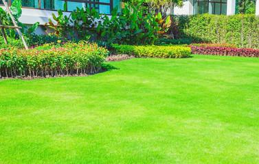 Keuken foto achterwand Lime groen Landscape formal, Front yard is beautifully designed garden.
