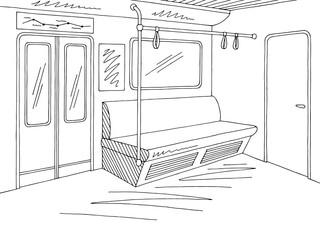 Train interior graphic metro subway black white sketch illustration vector