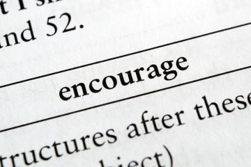 Encourage phrase in English textbook Selective focus