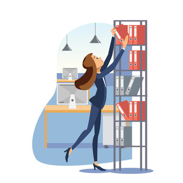 Young businesswoman working with documents vector
