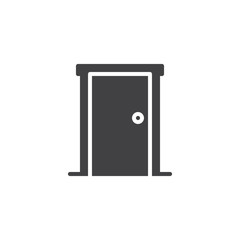 Closed Door Entrance vector icon. filled flat sign for mobile concept and web design. Front door simple solid icon. Symbol, logo illustration. Pixel perfect vector graphics