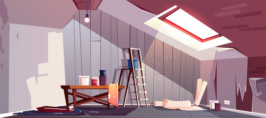 Vector concept of attic repair. Renovation of wooden room under a roof. Tray with paint, cylinder roller and stepladder. Equipment for wallpapering. The revival of loft, a vintage garret with window.