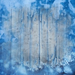 Christmas Winter Background with Ice Crystals and Wood