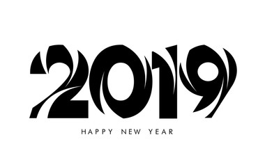 Happy new year 2019 abstract Black wave style design 2019 calligraphy on white background.