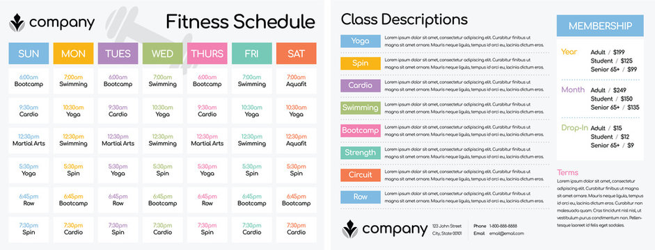 """Daily and Weekly Schedule for Classes at a Fitness Club Gym / Setup for a Double-Sided Letter Size Paper at 8.5 x 11"""""""