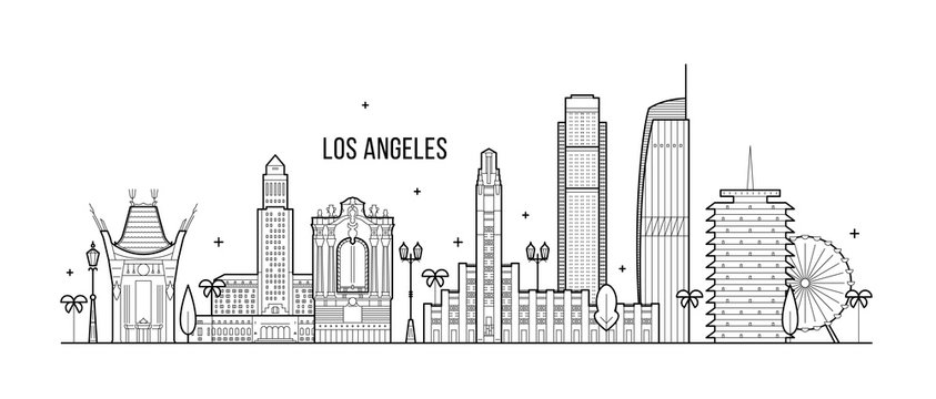 Los Angeles skyline USA big city buildings vector