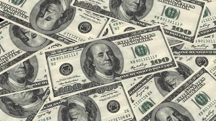 One hundred dollars banknote pile and portrait Benjamin Franklin on USA money banknote background