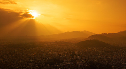 The yellow sunset sky above the city of Kathmandu,Nepal