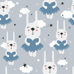 Door stickers Bestsellers Kids Rabbits in dresses, stars, hand drawn backdrop. Colorful seamless pattern with animals. Decorative cute wallpaper, good for printing. Overlapping colored background vector, ballerinas