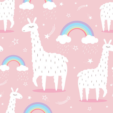 Lamas, rainbow, stars, hand drawn backdrop. Colorful seamless pattern with animals. Decorative cute wallpaper, good for printing. Overlapping background vector, happy alpacas. Llama