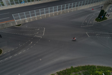 Aerial view on intersection with biker