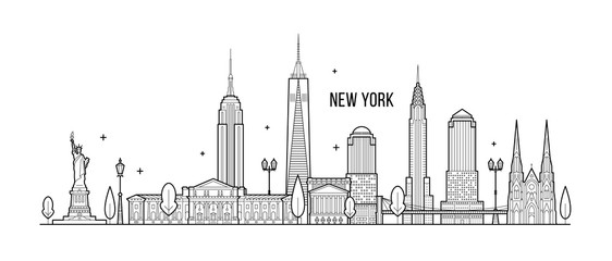 Wall Mural - New York skyline USA big city buildings vector