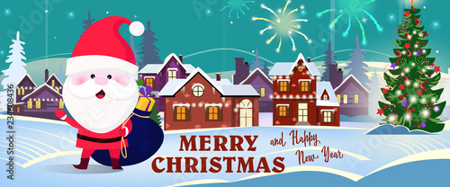 merry christmas and happy new year banner with jolly santa welcoming you in town background with