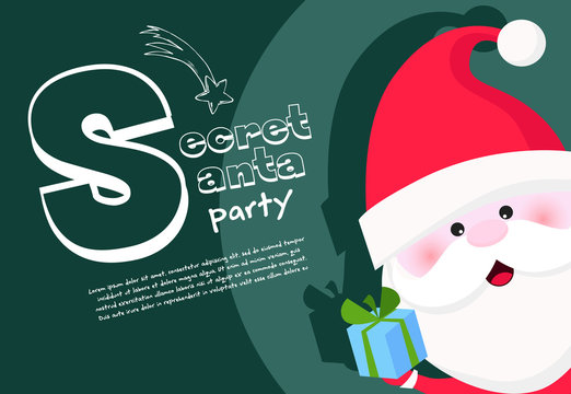Secret Santa party banner design with cheerful Santa Claus holding gift box in green background. Lettering with realistic elements can be used for invitations, signs, announcements