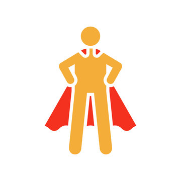 Stickman character figure with superhero pose and cape. Vector flat glyph illustration for strength, leadership, success and willpower