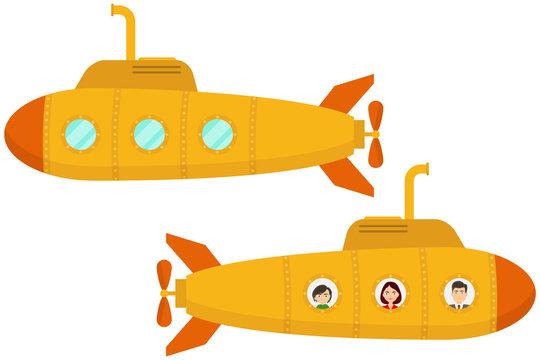 Yellow submarine. Two cartoon yellow submarines. Flat design, vector.