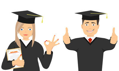 Happy graduates in gowns and with a diploma. Graduate and graduate in gowns. Flat design, vector.
