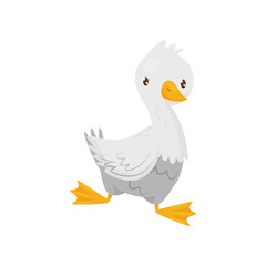 Cute goose with white feathers, orange beak and legs. Farm bird. Domestic fowl. Flat vector icon