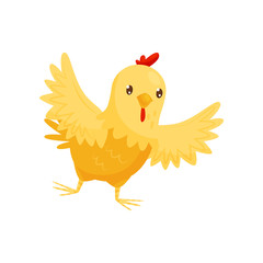 Small yellow chicken with wide open wings. Farm bird with orange beak and red scallop. Flat vector icon