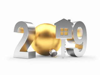 2019 New Year silver number and key-house icon on white. 3D illustration
