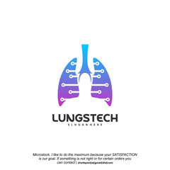 Lungs tech logo designs vector, Lungs with tech symbol iconinc logo