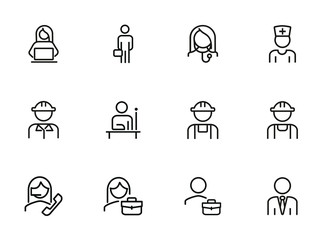 Professionals line icon set. Manager, doctor, engineer. Job concept. Can be used for topics like work, occupation, expertise Wall mural