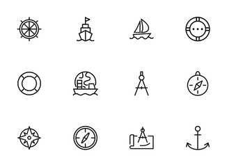 Sailing line icon set. Ship, anchor, compass. Travel concept. Can be used for topics like cruise, marine navigation, nautical