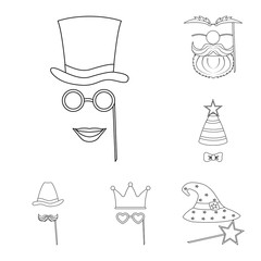 Vector design of party and birthday logo. Collection of party and celebration stock symbol for web.