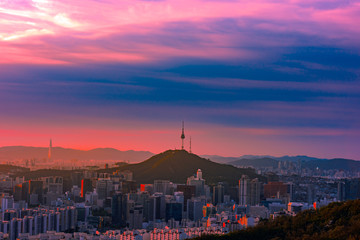 Fotobehang Seoel Seoul skyline on a perfect day with a focus on Central Business District while parts of Gangnam Business District.